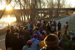 Sunrise Easter Service at the Brunswick Bike Trail - 2014. Photo by Alec Salisbury.